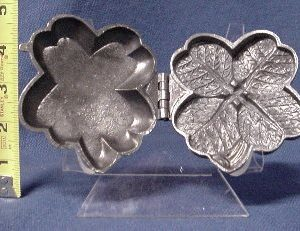 pewter ice cream mold four leaf clover