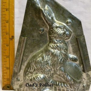 antique metal old hcocolate mold rabbit for sale