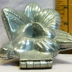 old antique vintage pewter ice cream mold for sale flower