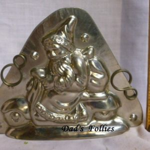 old metal vintage chocolate mold santa riding vespa unique gift