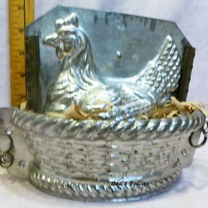 old antique metal vintage chocolate mold for sale hen basket