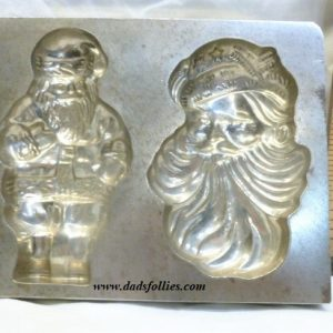 old antique metal vintage chocolate mold for sale flat santa