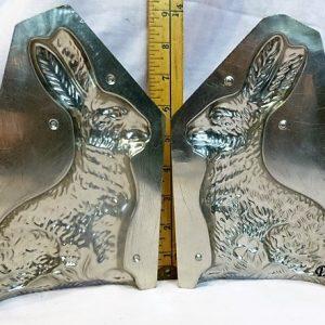 old antique vintage chocolate mold sitting rabbit