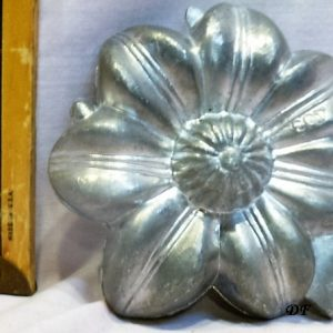 old antique vintage pewter ice cream mold for sale holiday Christmas flower