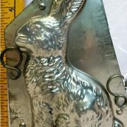 old antique vintage pewter ice cream mold for sale Rabbit Bunny