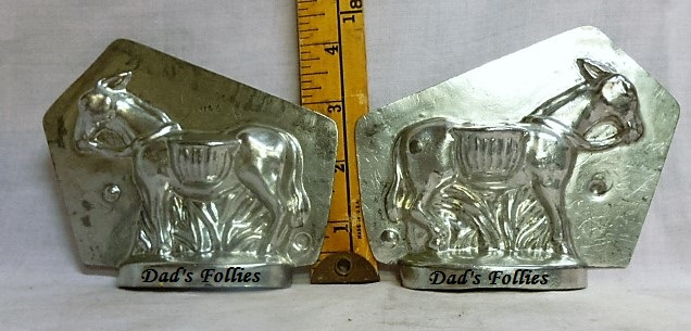 antique old metal vintage antique chocolate mold for sale donkey
