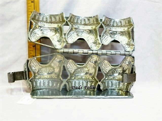 antique old metal vintage antique chocolate mold for sale