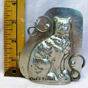 antique old metal vintage antique chocolate mold for sale cat