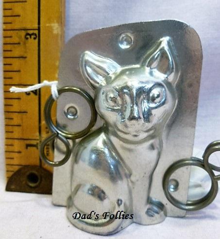 antique old metal vintage antique chocolate mold for sale cat