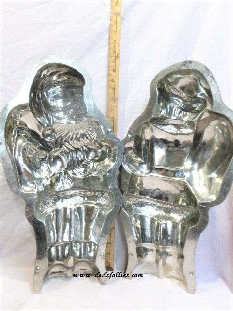 old antique metal vintage chocolate mold for sale santa